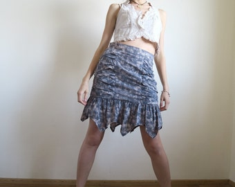 Vintage Acid Wash Skirt, Ruched Gathered Sexy Mini Skirt, Flounce Pointed Hem, Lavender Blue Beige, Suit Skirt, Size S Small