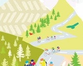 Cycling in the Hills Art Print