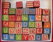 1940s Baby Blocks, Wood Alphabet Blocks 39 Child's Alphabet Blocks, Vintage Blocks