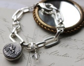 Horse Bracelet Equestrian Jewelry Horse and Rider, mixed link Bracelet Silver, Vintage Button Jewelry by veryDonna