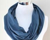 Organic Cotton Circle Scarf in Navy Blue Dark Blue