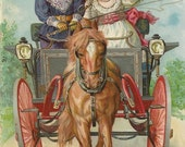 Self-Driving Pony - Antique 1900s Victorian Gilded Birthday Greeting Postcard