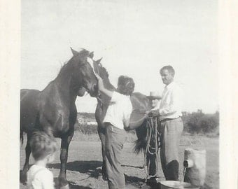 Morning Greetings - Vintage 1940s Family with Horses Photograph