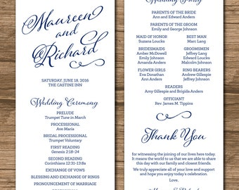 Wedding Program, Order of Ceremony, Ceremony Program, Order of Service - double-sided - calligraphy, nautical, beach, navy - Maureen
