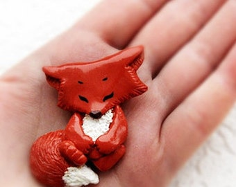 Fox brooch, Little funny pin Fox Cub, Animal jewelry Miniature