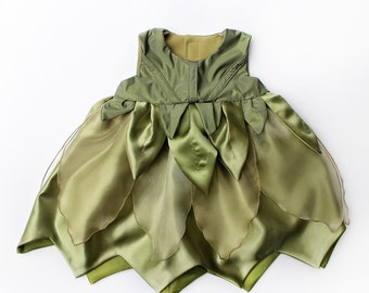 Baby Tinkerbell or Poison Ivy Green Fairy Leaves Costume Dress Handmade Unique - Ready to Ship - Sz 6 to 12 months