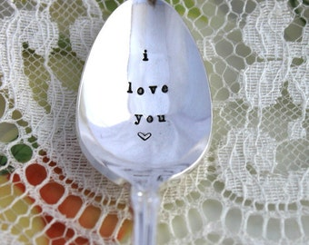 Vintage Spoon Hand Stamped I LOVE YOU Silverware Hand Stamped Spoon Mother's Day Wedding Decor Cake Table Setting