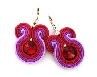 Bridesmaids earrings - soutache earrings - purple red bridesmaids earrings - birthday gift - bridesmaids gift - wedding wholesale jewelry