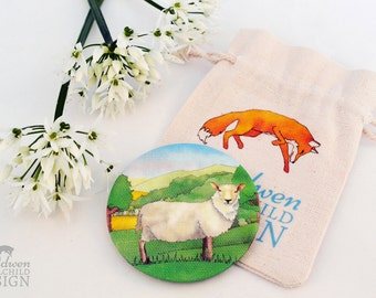 Sheep Fabric Pocket Mirror, Cosmetic Mirror, Makeup Mirror, Gifts for Women, Fabric Covered Mirror