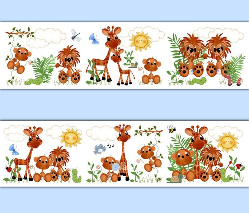 SAFARI NURSERY DECOR Wallpaper Border Boy Animal Wall Art