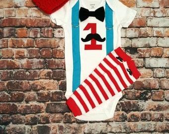 Mustache Baby Boy First Birthday Outfit - Little Man, Birthday Bow Tie Bodysuit, Button Leg warmers, Hat, Cake smash, 1st Birthday