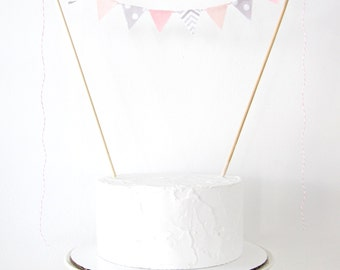 Pink & Gray Cake Topper - Fabric Cake Bunting - Wedding, First Birthday, Shower Decoration pastel elephant chevron polka dots baby girl