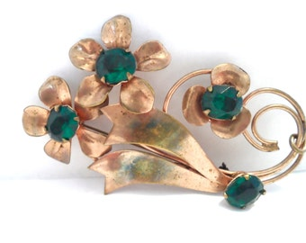 Vintage Retro Emerald Green and Copper Flower Bouquet Brooch Retro Jewelry Flower Jewelry Flower Pin