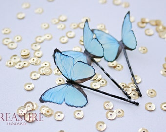 Hair pins with light blue butterflies, set of 3 pc, butterfly hair pin, light blue butterfly, light blue hair pins, light blue butterflies