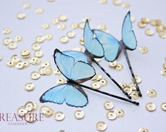 Light blue butterfly hair pin, light blue butterfly hair jewelry, handmade butterfly, exotic butterfly, bridal jewelry, wedding jewelry