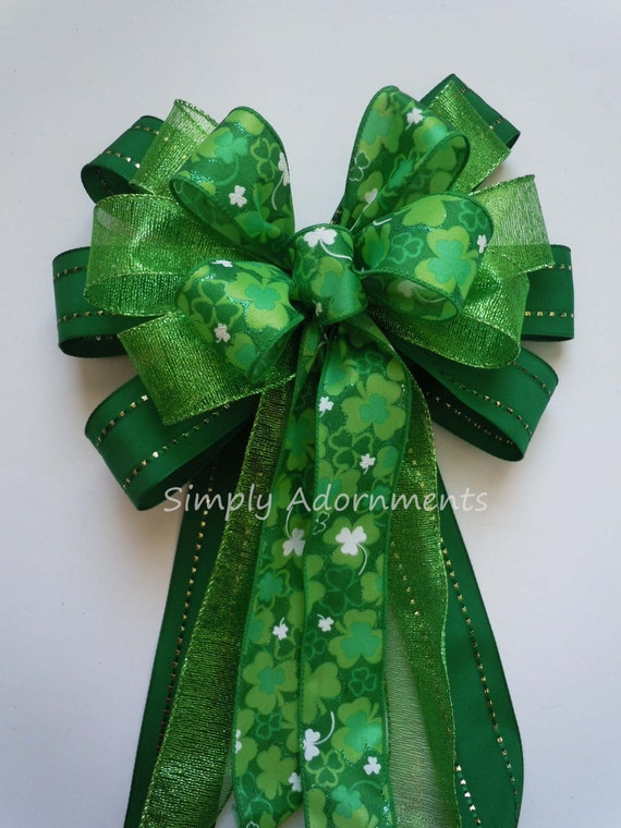 Kelly Green Shamrock Bow Happy Saint Patrick's Wreath Bow Kelly Lime St. Patrick's Wreath Bow Emerald Lime Irish Shamrock Bow