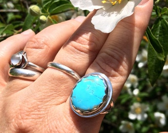 Sky Blue Turquoise Ring set in Sterling Silver with Hand Stamped Band All Handmade Size 8 3/4