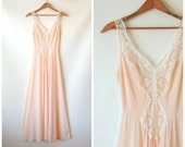 Pale Pink Olga Nightgown / Full Sweep Maxi Nightgown / Romantic Lingerie / White Lace / Blush Pink Nightgown / Silky Olga Lingerie / Small