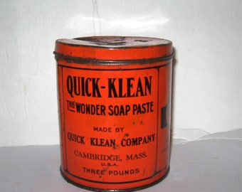 Quick-Klean Wonder Soap Paste Tin from 1920's - Cambridge, MA Quick-Klean 1920's Soap Paste - Three Pounds Soap Paste Tin of Cambridge,MA