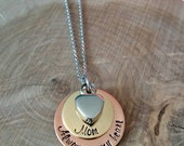 Cremation Urn memorial necklace, urn jewelry, cremation jewelry, sympathy gift, memorial necklace, Hand stamped urn jewelry, urn heart
