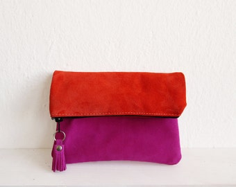 Suede Leather Clutch bag Fold over clutch purse, Zippered Leather pouch, Orange, Fuchsia