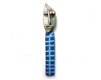 Blue sculpture, Ceramic Art Doll, Wall art sculpture, Ceramic Wall Art,  3D wall art, Mixed Media Sculpture by 99heads
