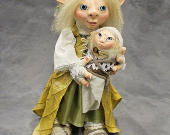 Nanna and Lilja, Nordic Elfling Mommy with darling Baby ooak bendable Art doll in high quality polymer clay with swarovski crystals