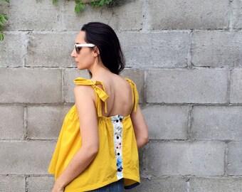 Sunshine Inversible Tie-shoulder Tank - repurposed materials