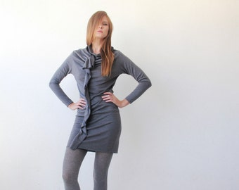 Grey urban knitted tunic with long sleeves, Knit winter dress 1013
