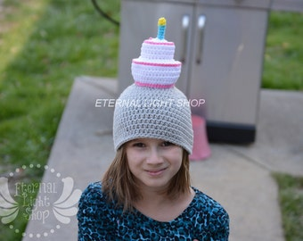 ALL SIZES/COLORS Birthday Cake Beanie Crochet