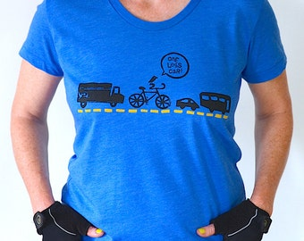 Women's Bicycle Tshirt, Bike Tee, One Less Car Tshirt, Graphic Tee