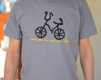 Men's Bicycle Tshirt, Bicycle Silkscreen Graphic Tee, Bike Shirt, Banana Seat + Sissybars Art Tshirt