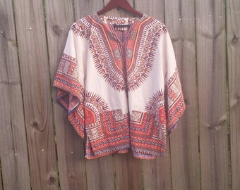S M L Small Medium Large Vintage Angel Sleeves Bell Sleeve Cotton Ethnic Dashiki Batik Print Hippie Festival Boho Shirt Blouse