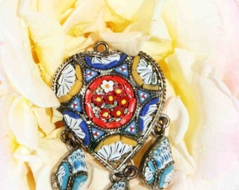Vintage Heart Mosaic Pendant Vintage Micro Mosaic Pendant