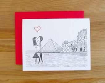 Canoodle Doodle No. 34 - Paris Louvre Museum // Romantic Valentine, Birthday, Anniversary, Engagement, or Bridal Shower card for Him or Her