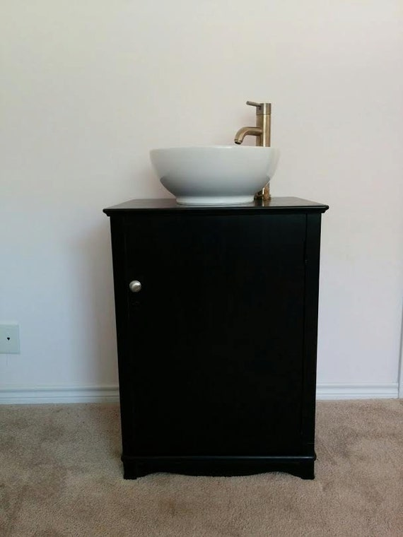 "Bathroom Vanity - Contemporary Bathroom Vanity - Bathroom Vanity with Sink - Small Vanity- 23"" wide - Re-purposed cabinet - Black - Antique"