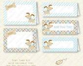 Blue Puppy Printable Tent Buffet Card Kit party favor bag Birthday Baby Shower placecard plaid stripes dots instant download digital pdf