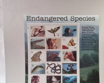 USPS 1995 Endangered Species No 449341 Collectible Stamps 15 X 32 Cent Full Sheet Mint Never Opened