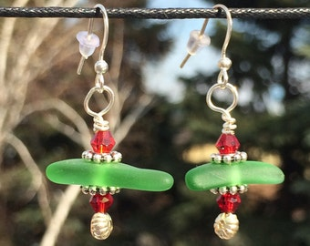 Recycled Green Glass Earrings, Red and Silver accents, Christmas!