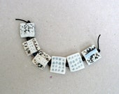 Square Beads  , White , Aqua And Black Porcelain Beads,  orphan Beads ,Jewelry Supplies , Beading Supplies