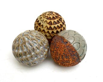 Earth Colors  , Ceramic Sculpture ,Rustic Decor ,  Ceramic Balls , Ceramic Pebbles, Spa Decor