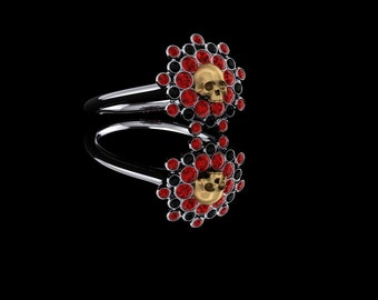 Blood Sun Skull Ring with Rubies and Black Diamonds Gold Ring