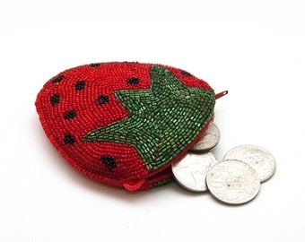 Strawberry Coin Purse, Beaded Wallet, Red Strawberry Iridescent Embroidered Beaded Wallet, Hipster Change Purse, Strawberry Zipper Pouch