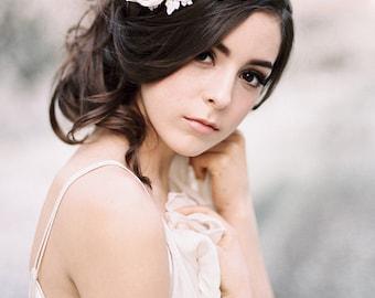 Silk Petals and Lace Bridal Hair Comb #305HP