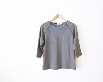 90s shirt / raglan / ribbed t-shirt / striped shirt