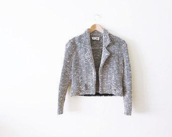St. John  Marie Gray Blazer / Knit Herringbone Blazer / 80s Clothing / XS Petite