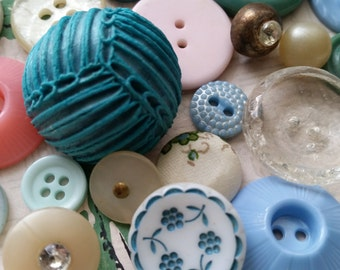 2 Doz. Antique and Vintage Novelty Buttons | Lot No.401 | Pink and Aqua | Rhinestones | Glass | Assortment | Shabby Chic