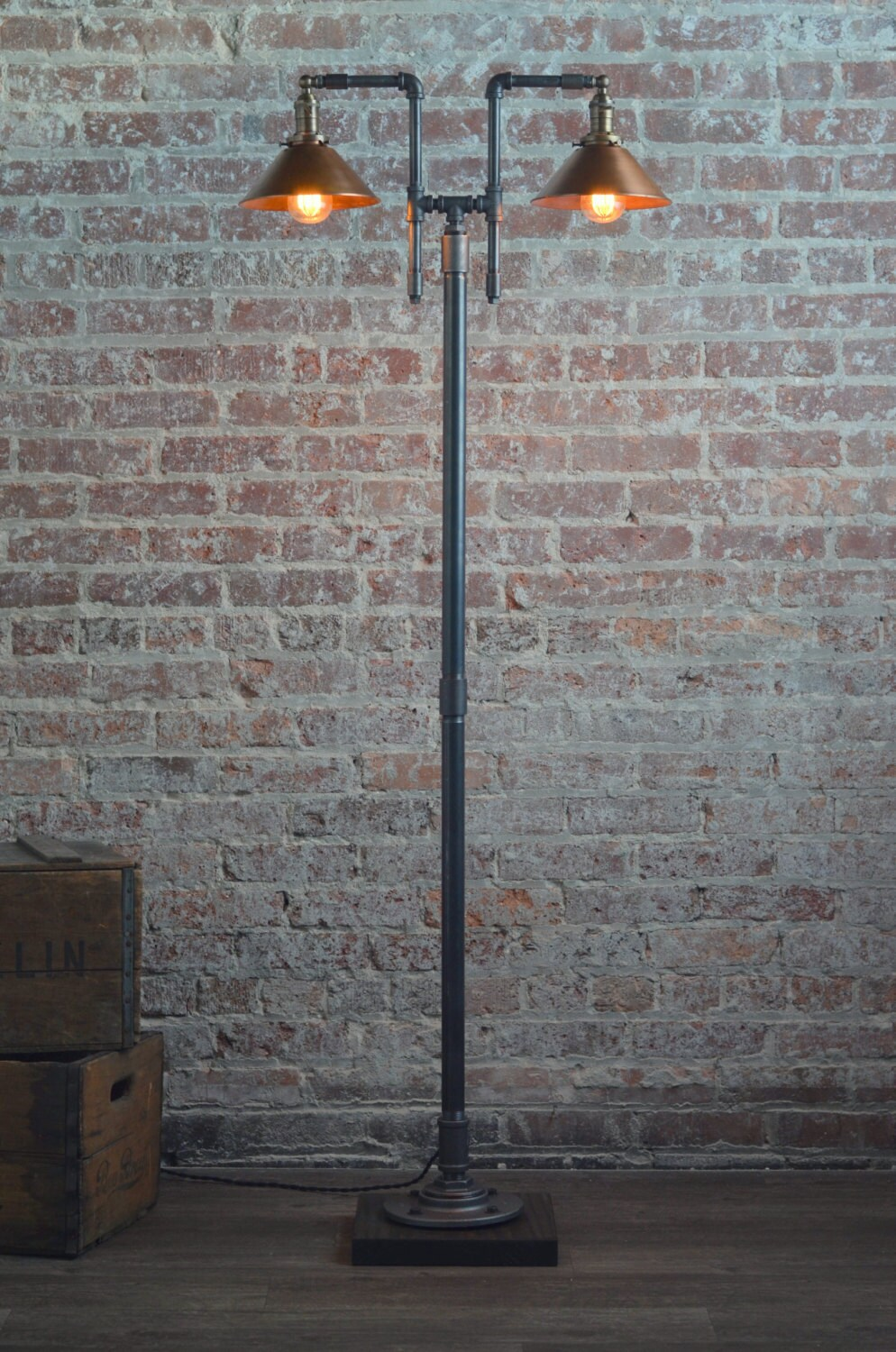 Copper Floor Lamp Industrial Floor Lamp Antique Brass