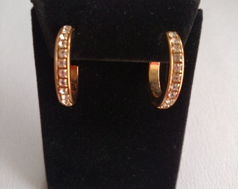 Gold Tone Rhinestone Hoop Earrings