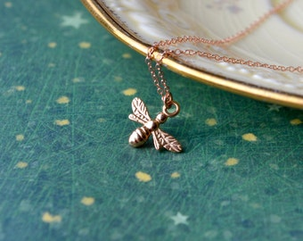 Rose Gold Bee Necklace, Tiny Bee Pendant Bumble Bee Jewellery, Rose Gold Charm Necklace, Insect Jewelry Summer Necklace, Honey Bee, Mom Gift